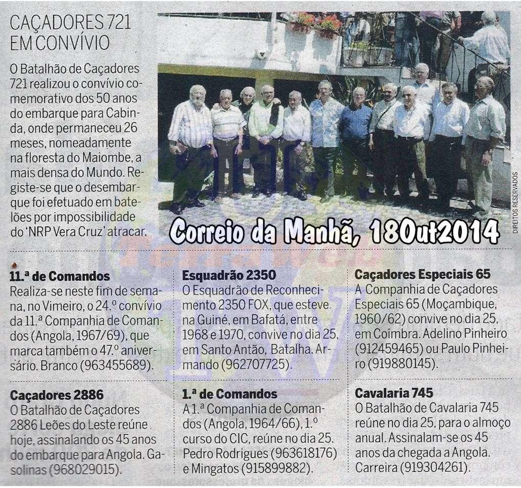 Encontros Convívios de ex-Militares Portugueses, in Correio da Manhã, de 18Out2014 Encont23