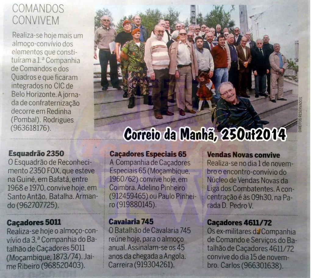 Encontros Convívios de ex-Militares Portugueses, in Correio da Manhã, de 25Out2014 Encont24