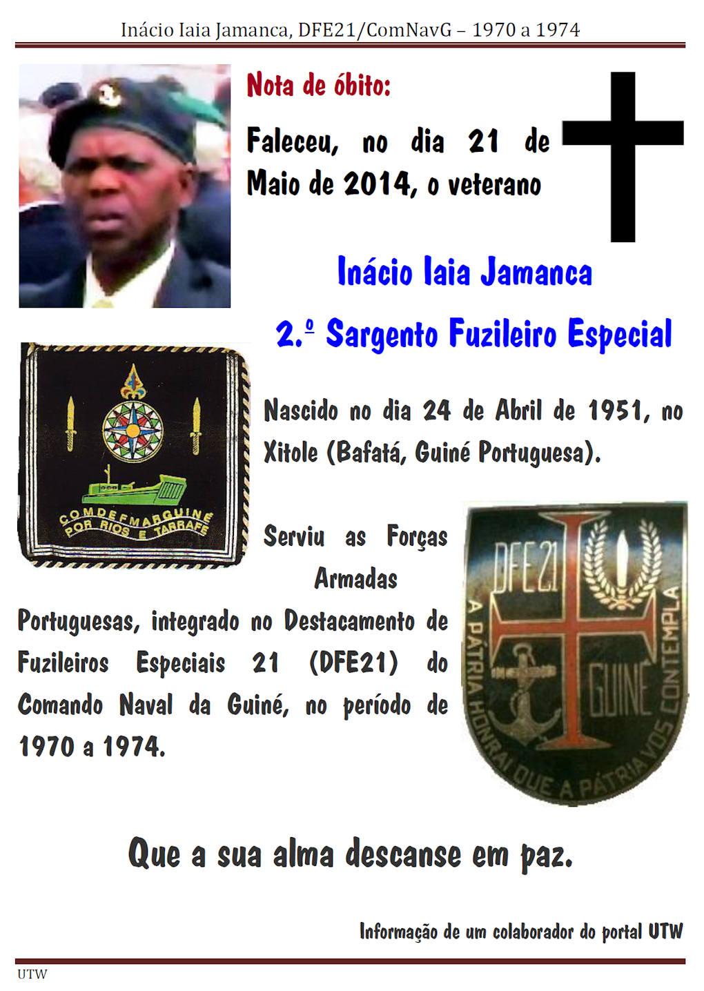 Faleceu o veterano Inácio Iaia Jamanca, 2.ºSargento Fuzileiro Especial, do DFE21/ComNavG - 21Mai2014 Inacio11