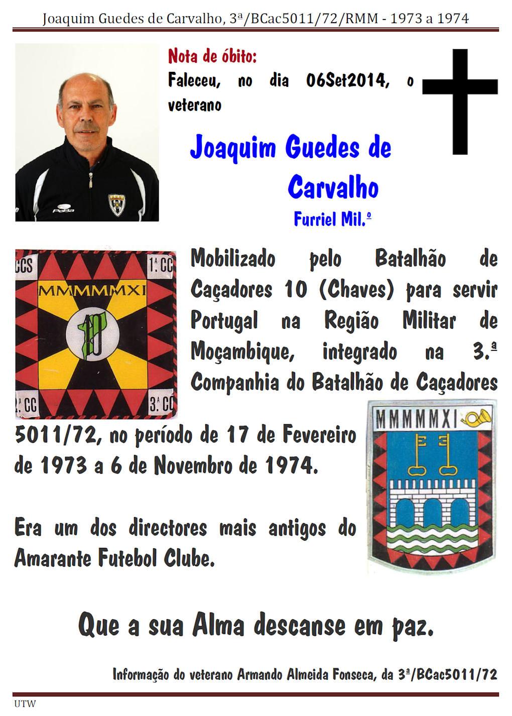 Faleceu o veterano Joaquim Guedes de Carvalho, da 3Cª/BCac5011/72 - 06Set2014 Joaqui10