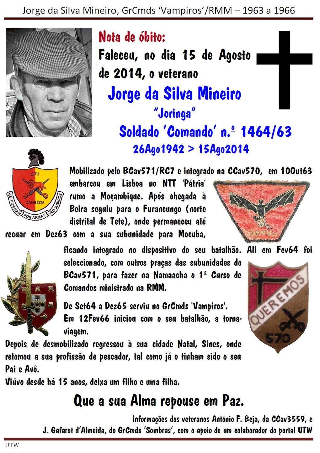 Faleceu o veterano Jorge da Silva Mineiro, do GrCmdsVampiros - 15Ago2014 Jorged15