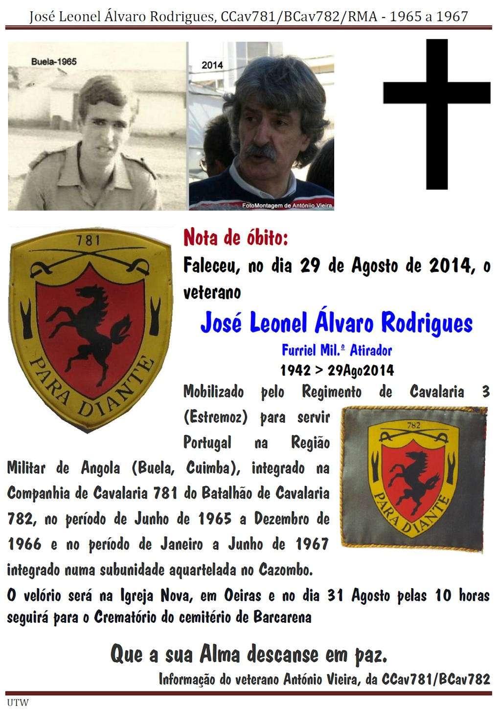 Faleceu o veterano José Leonel Álvaro Rodrigues, Furriel Mil.º, da CCav781/BCav782 - 29Ago2014 Josele11