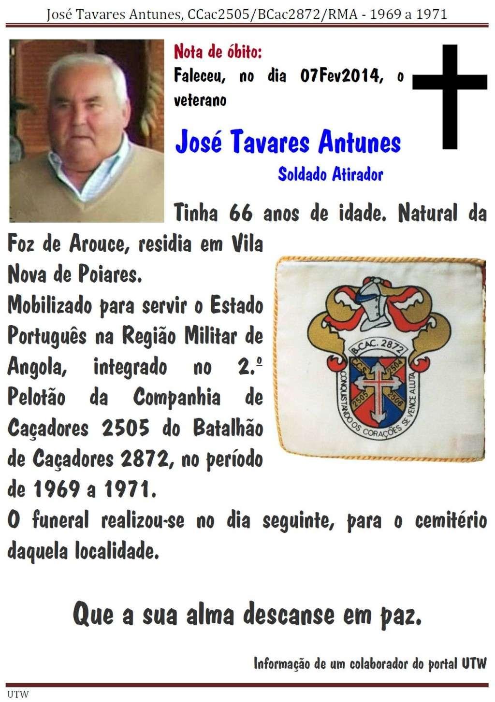Faleceu o veterano José Tavares Antunes, CCac2505/BCac2872 - 07Fev2014 Joseta10