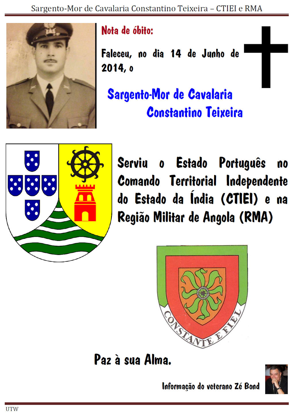 Faleceu o Sargento-Mor de Cavalaria Constantino Teixeira - CTIEI e RMA - 14JUn2014 Sargen11