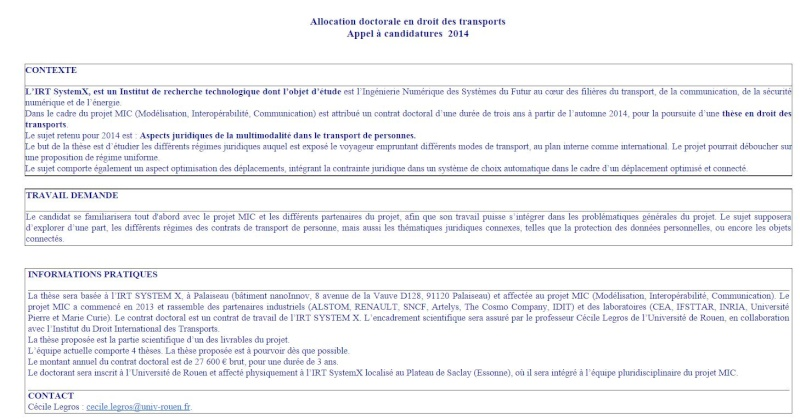 Allocation doctorale en droit des transports Appel à candidatures  2014 Aa10
