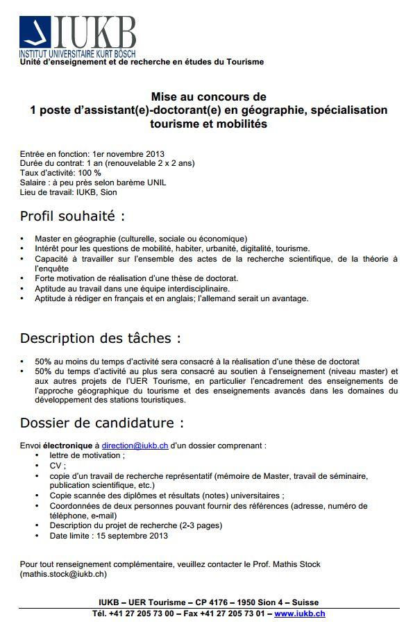 Institut Universitaire Karl Bösch (Sion, Suisse)  : poste d'assistant(e)-doctorant en géographie, spécialité : Tourisme et mobilités Iukb10