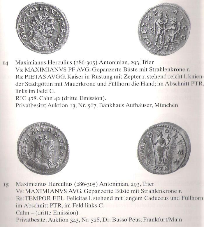 Aureliani pour Trèves de Dioclétien et de ses corégents  - Page 2 Maximi16