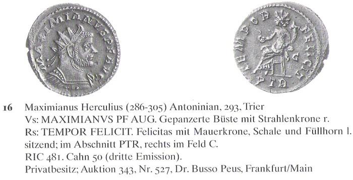 Aureliani pour Trèves de Dioclétien et de ses corégents  - Page 2 Maximi17