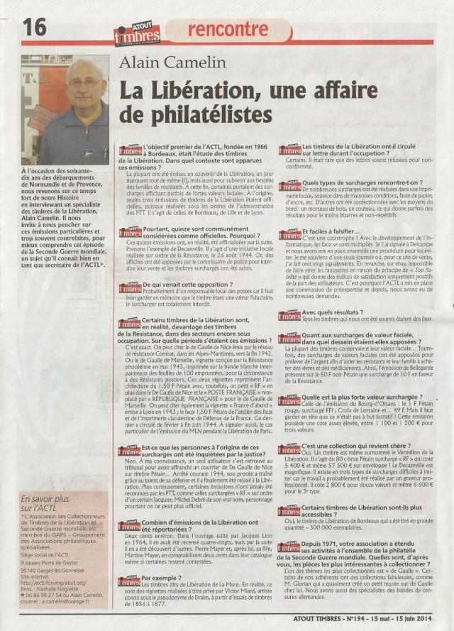 INTERVIEW DU SECRETAIRE DE L'ACTL ATOUT TIMBRES 194 MAI-JUIN 2014 2014-012