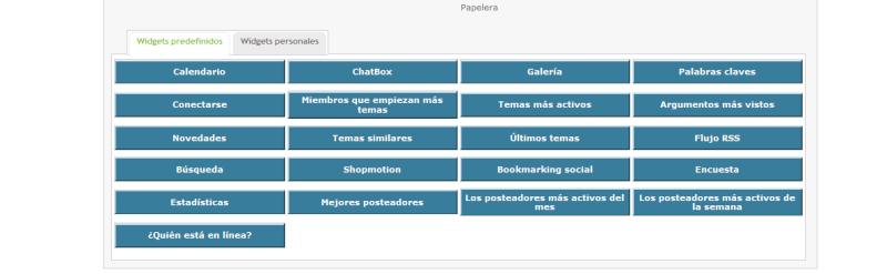 Activación y edición opciones de Widgets del foro Ije2ho10