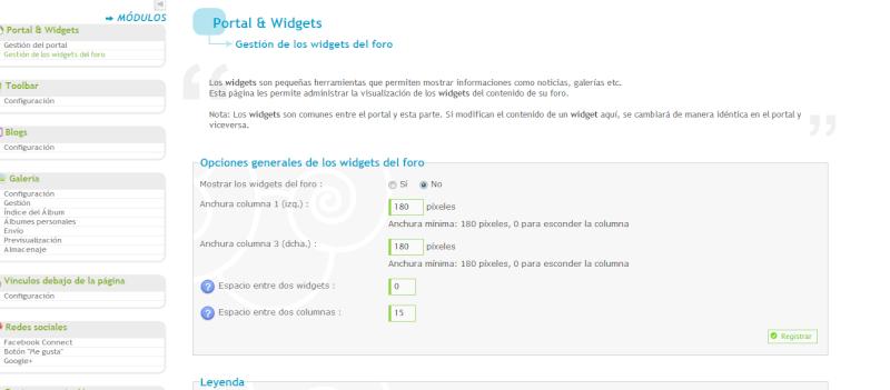 Activación y edición opciones de Widgets del foro Uqlcqz10