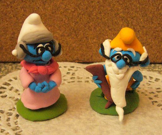 Petits schtroumpfs en pate polymère ( fimo , patarev, pate à modeler ....) Smurf211