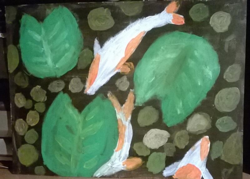 carpes koi acrylique sur papier  Wp_20114