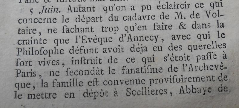 La mort de Voltaire, selon les Mémoires Secrets . Memoir63