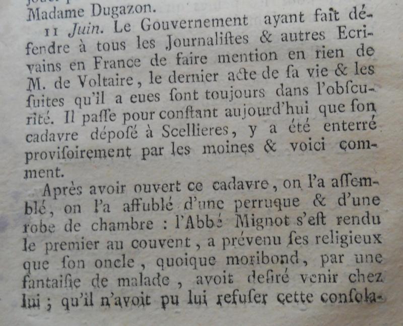 La mort de Voltaire, selon les Mémoires Secrets . Memoir65