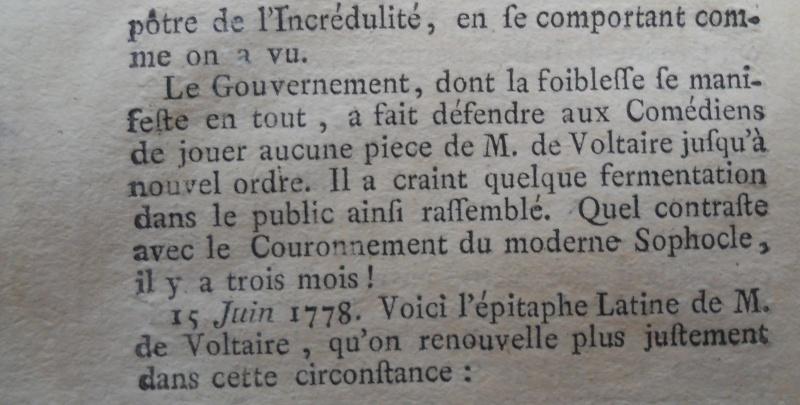 La mort de Voltaire, selon les Mémoires Secrets . Memoir71