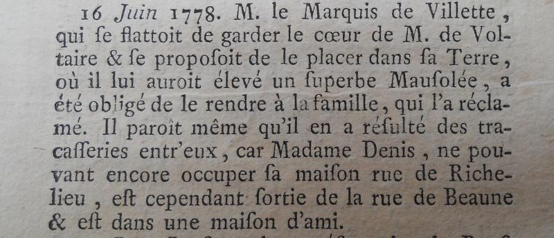 La mort de Voltaire, selon les Mémoires Secrets . Memoir73