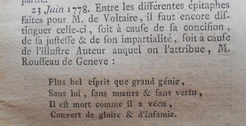 La mort de Voltaire, selon les Mémoires Secrets . Memoir74