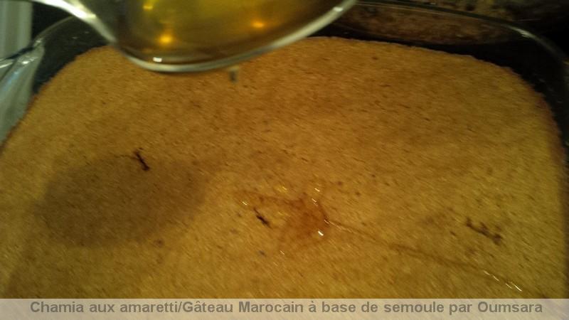 Quand l'Italie rencontre le Maroc! Chamia aux amaretti  / Gâteau Marocain à base de semoule / الشَّمِيَّة / Chamia13