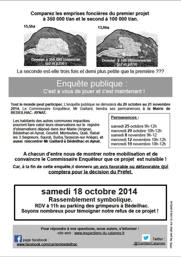 18/10. RASSEMBLEMENT contre la réouverture de la Carrière de Bédeilhac. Bedeil10