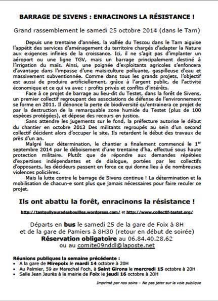 Mobilisation contre le barrage de Sivens Sivens11