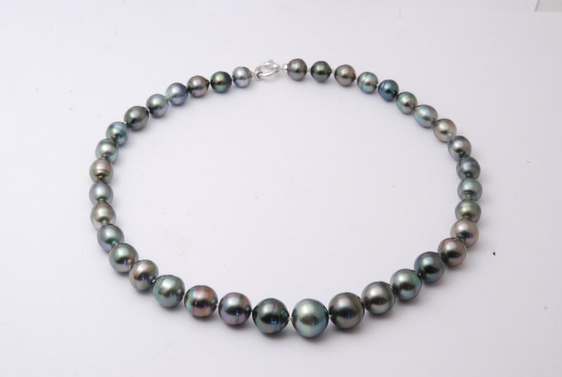 Collier en chute perles de Tahiti cerclées Dsc_2532