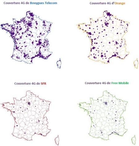 Bouygues Telecom meilleur réseau en 4G par l'ARCEP 4gcouv10