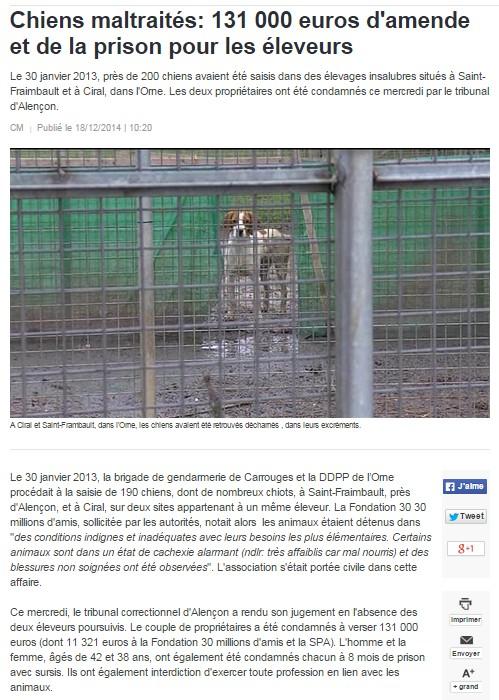 Orne 61 : près de 200 chiens saisis dans un élevage professionnel 116