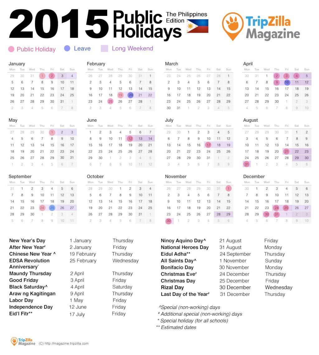 Long Weekends in 2015 Calend10
