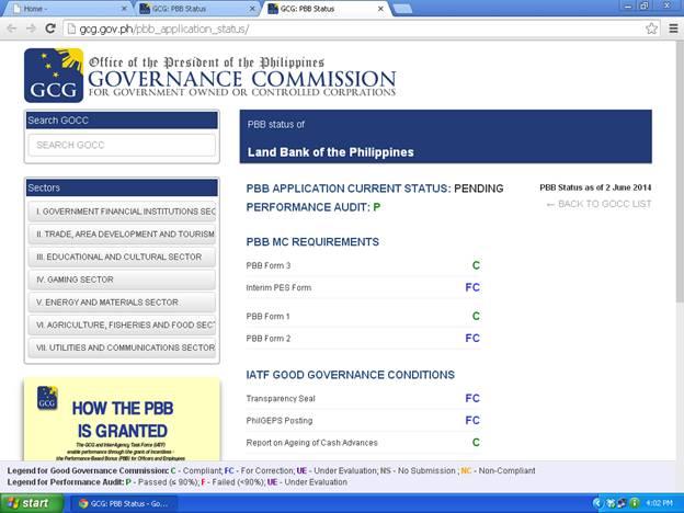 "GCG CLEARANCE FOR LANDBANK ""PENDING STATUS"" ON GCG WEBSITE 6/2/14 Pbb10"
