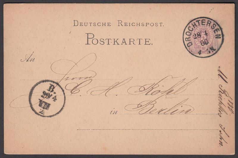 Rundstempel des Deutschen Reiches auf Karte oder Brief Drocht10
