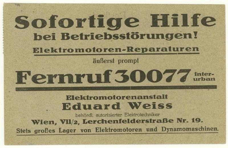 Werbeumschläge und -karten aus Österreich Elektr11