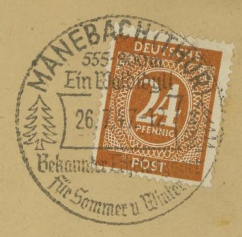 nach - Ortswerbestempel - Deutschland nach 1945 (Handstempel) Maneba10