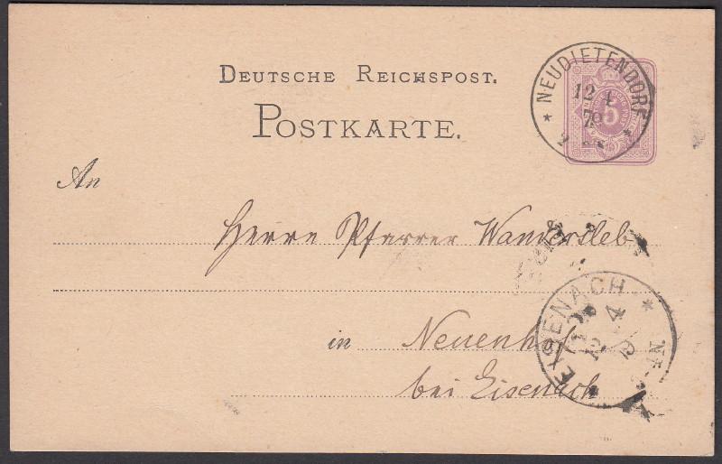 Rundstempel des Deutschen Reiches auf Karte oder Brief Neudie10