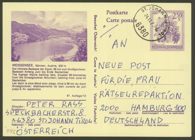 """Ganzsachen mit Wertstempel """"Schönes Österreich"""" - Seite 2 P_442_21"""