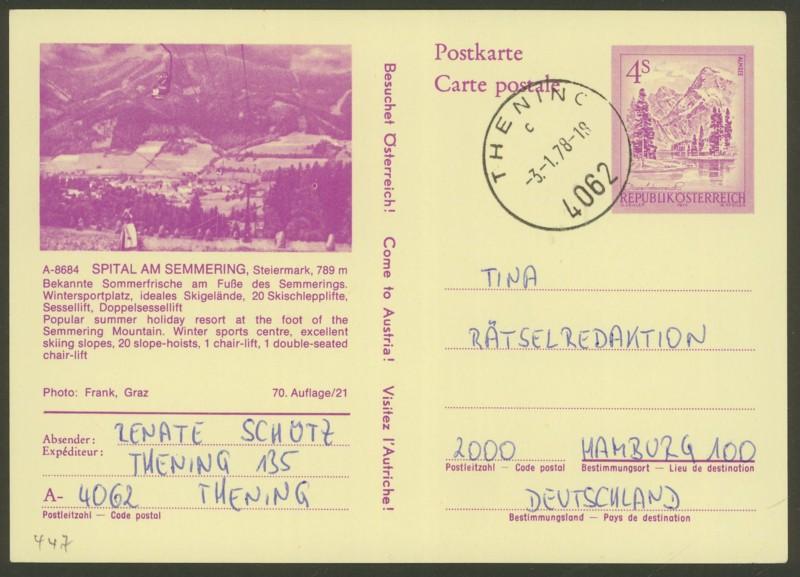 """Ganzsachen mit Wertstempel """"Schönes Österreich"""" - Seite 2 P_447_22"""