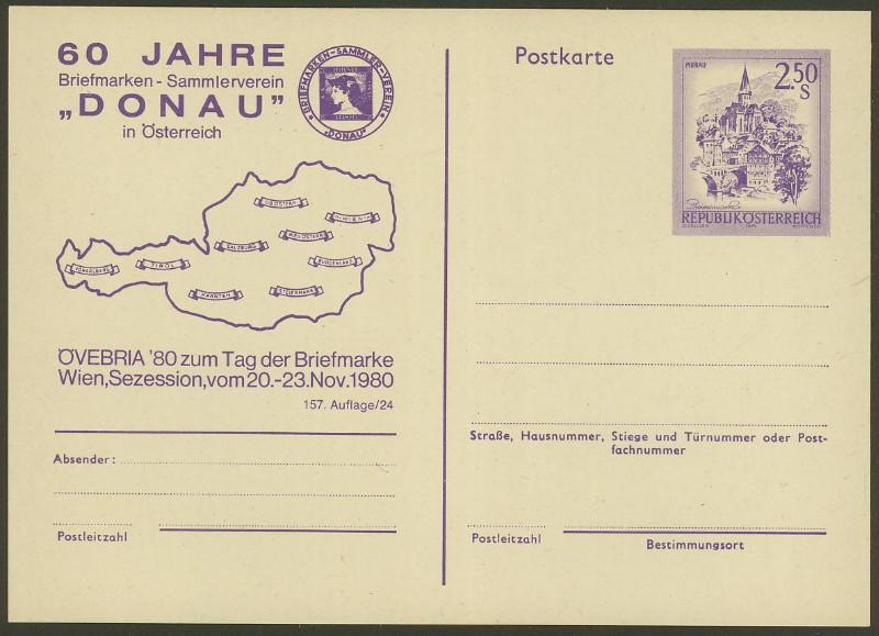 """Wertstempel """"Schönes Österreich"""" - Zudrucke auf Ganzsachen P_452_10"""