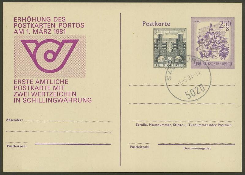 """Wertstempel """"Schönes Österreich"""" - Zudrucke auf Ganzsachen P_458_10"""