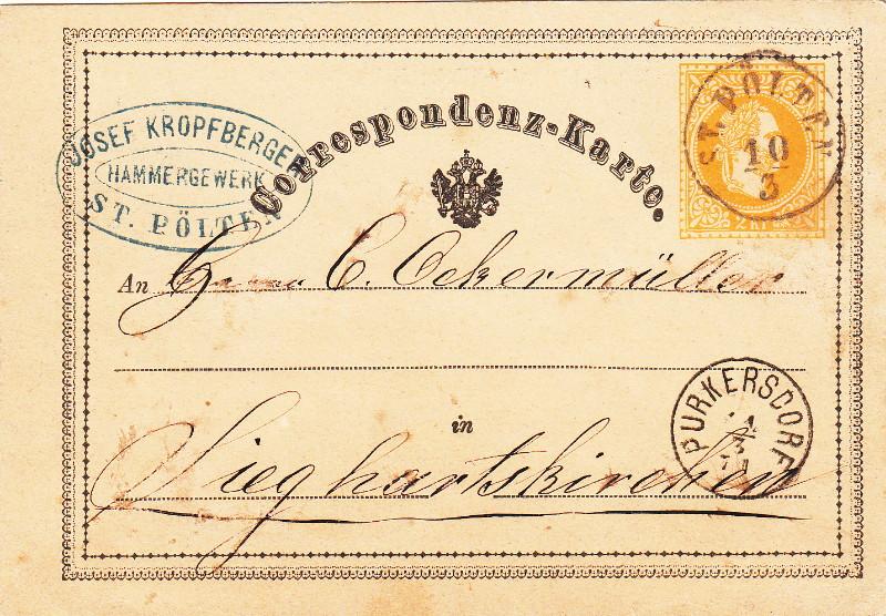Fingerhutstempel auf Freimarkenausgabe 1867 Purker10