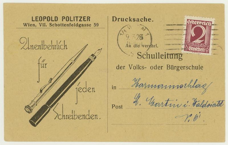 Werbeumschläge und -karten aus Österreich Schrei10
