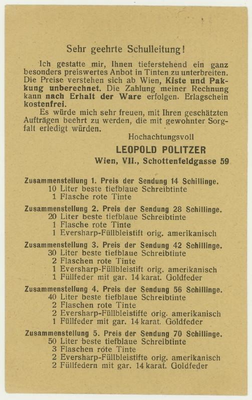Werbeumschläge und -karten aus Österreich Schrei11