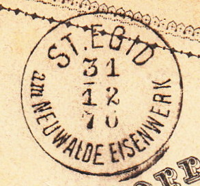 Fingerhutstempel auf Freimarkenausgabe 1867 St_egi11