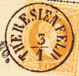 Fingerhutstempel auf Freimarkenausgabe 1867 Theres10