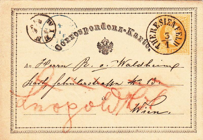 Fingerhutstempel auf Freimarkenausgabe 1867 Wien_010