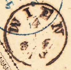 Fingerhutstempel auf Freimarkenausgabe 1867 Wien_011