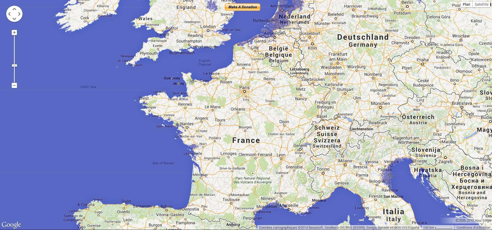 Carte interactive de la montée du niveau des océans  2014-202