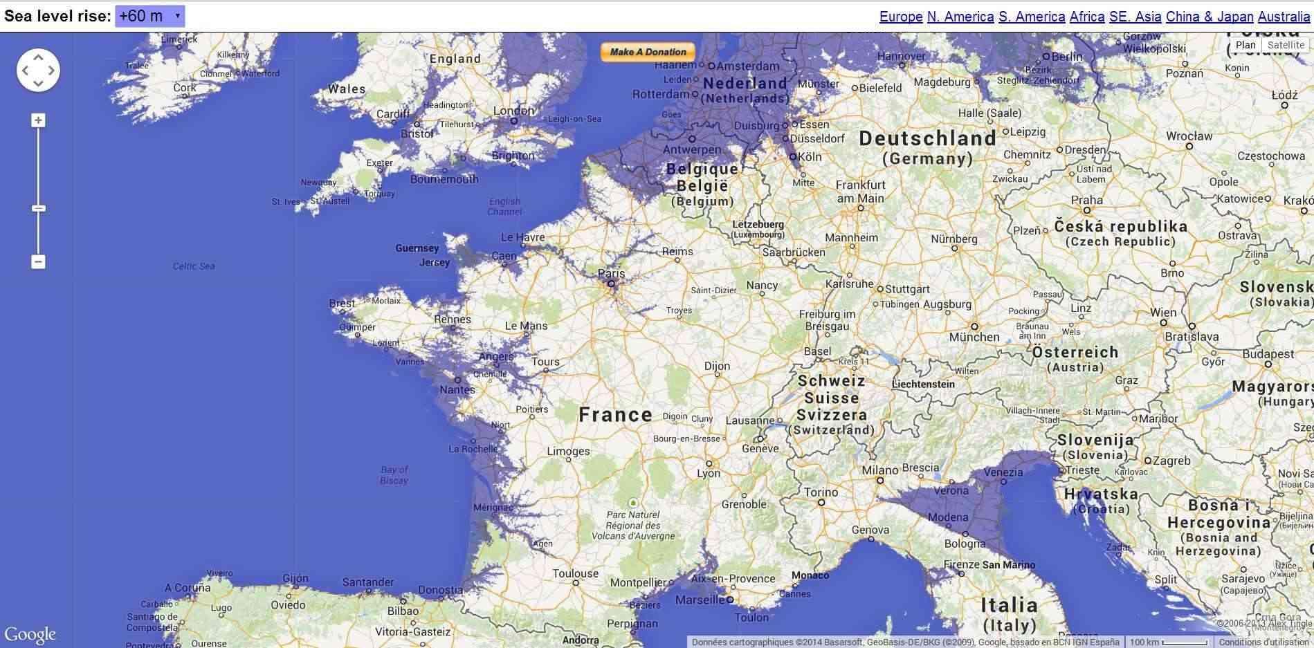 Carte interactive de la montée du niveau des océans  2014-205