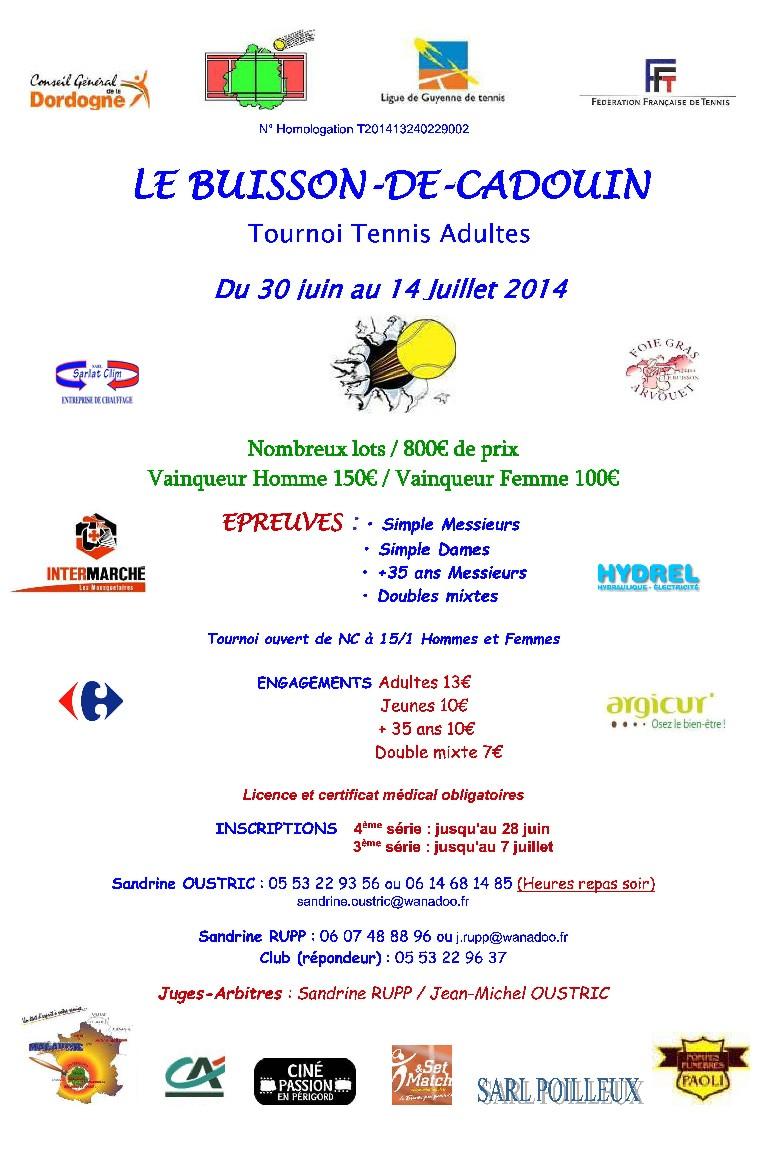Tournoi Adultes LE BUISSON DE CADOUIN 2014 Affich10