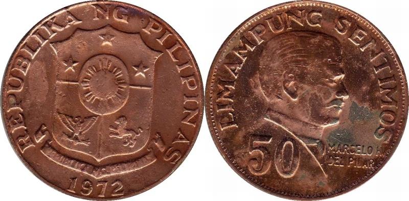 1972 Marcelo H. Del Pilar Trial Strike 50 Cents----Struck in copper 1972fi10