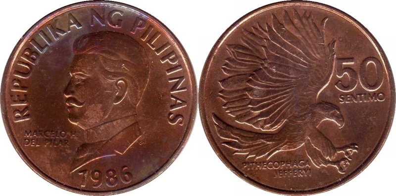 1986 NEW REVERSE EAGLE 50 CENTAVOS TRIAL STRUCK IN COPPER  1986fi10